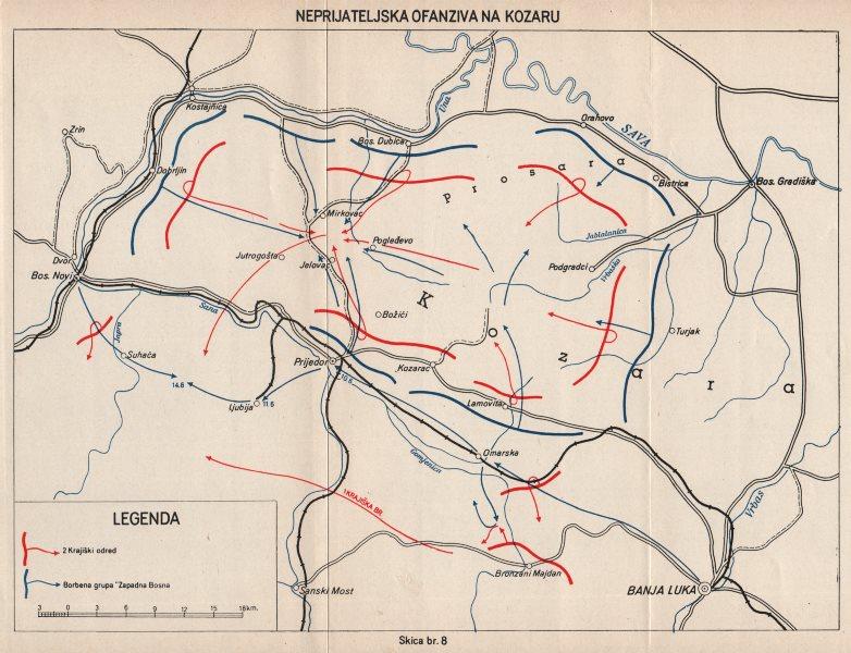 Associate Product BOSNIA HERZEGOVINA. Enemy (Axis) offensive on Kozara. Banja Luka 1942 1957 map