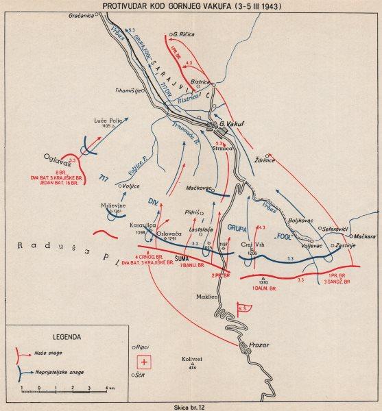 BOSNIA HERZEGOVINA. Counterstrikes in Gornji Vakuf (3-5 March 1943)  1957 map