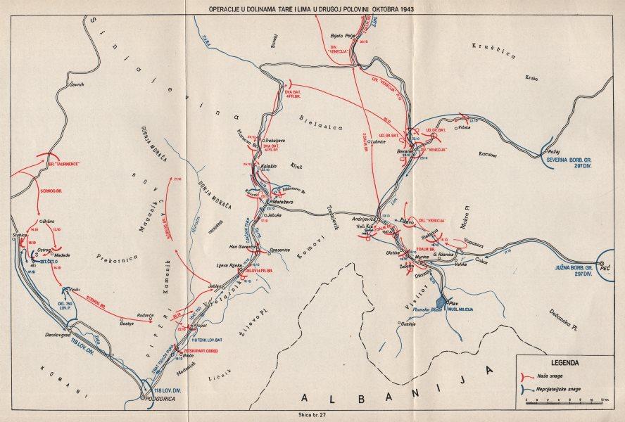 Associate Product MONTENEGRO. Operations in valley of Tara & Lim October 1943. Matesevo 1957 map