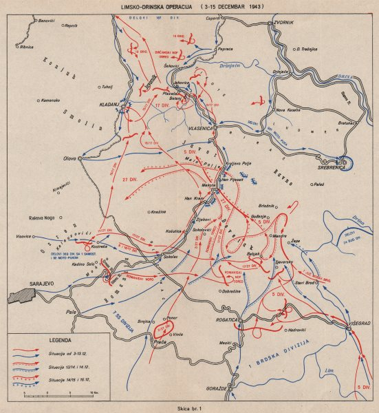 Associate Product BOSNIA HERZEGOVINA. Lim-Drinska Operation Dec 1943. Kladanj Vlasenica 1957 map