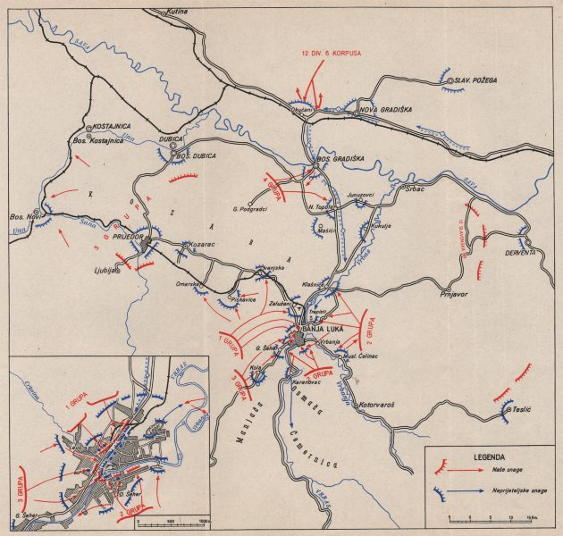 Associate Product BOSNIA HERZEGOVINA. Banja Luka operation. 31 December 1943-2 Jan 1944 1957 map
