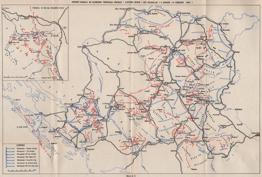 Associate Product BOSNIA HERZEGOVINA. 3 January-14 Feb 1944. Zadar Banja Luka Dalmatia 1957 map
