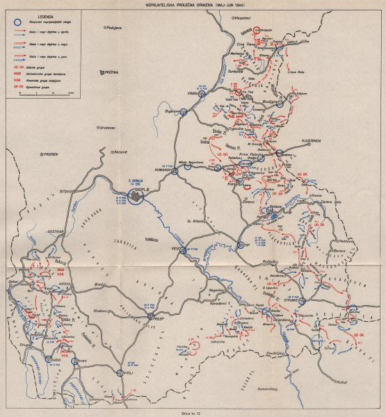 Associate Product MACEDONIA. 7th Axis(Spring)Offensive May-Jun 1944.Kicevo Vranje Kratovo 1957 map