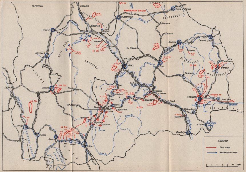 Associate Product MACEDONIA. Skoplje Veles Prilep Strumica. 9 September-15 October 1944 1957 map