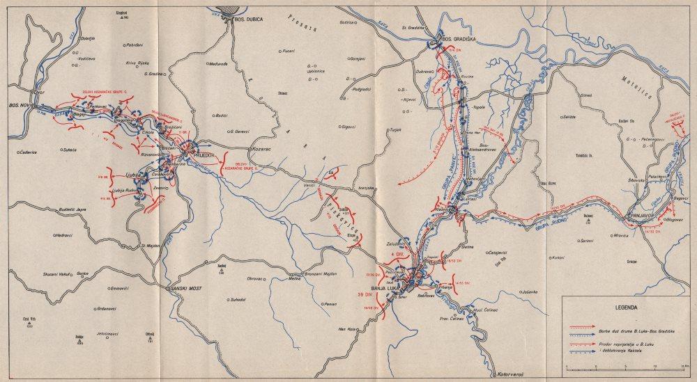 Associate Product BOSNIA HERZEGOVINA.Combat operations Sana Banja Luka Prijedor Sept 1944 1957 map