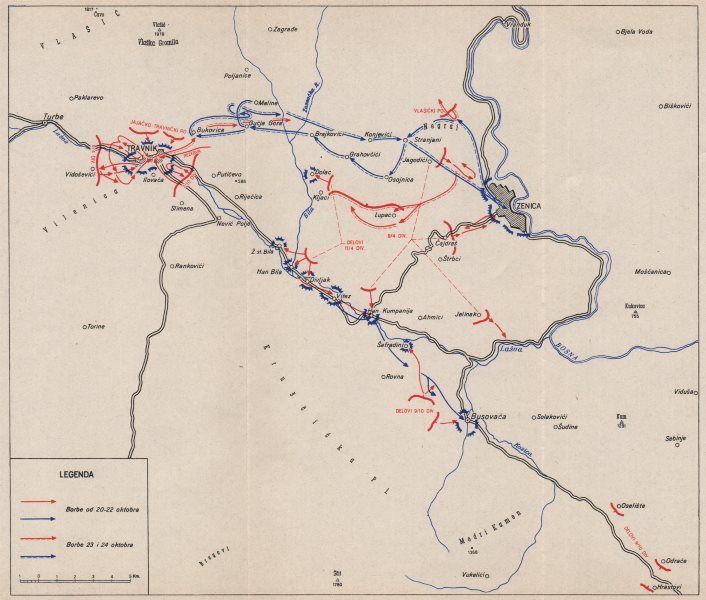 Associate Product THE LIBERATION OF TRAVNIK. 20-24 October 1944 Zenica Bosnia-Hercegovina 1957 map