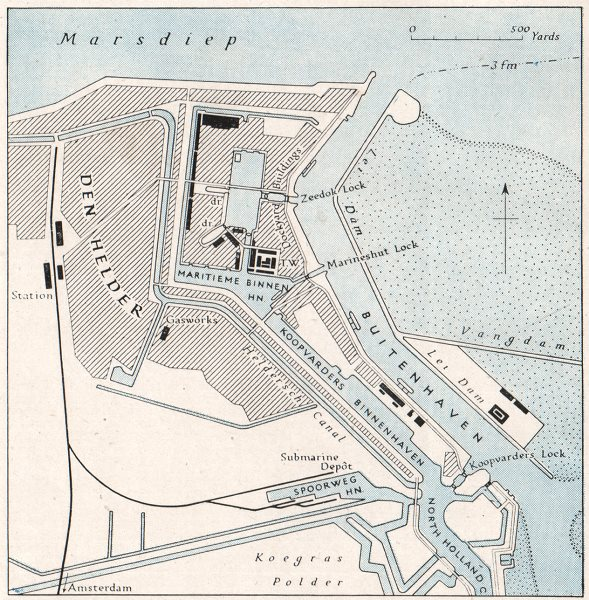 Associate Product PORT OF DEN HELDER. Netherlands. WW2 ROYAL NAVY INTELLIGENCE MAP 1944 old