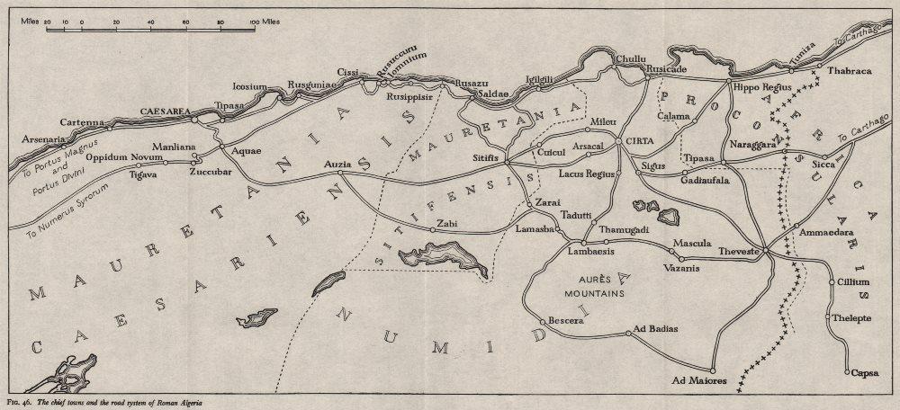 ROMAN ALGERIA. Chief towns & roads. WW2 ROYAL NAVY INTELLIGENCE MAP 1943