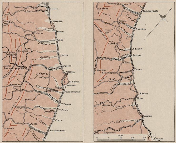 Associate Product ITALY.Adriatic Coast.Ancona Rimini Pescara.WW2 ROYAL NAVY INTELLIGENCE MAP 1944