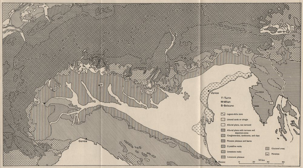 Associate Product NORTHERN ITALY. Landform types. WW2 ROYAL NAVY INTELLIGENCE MAP 1944 old