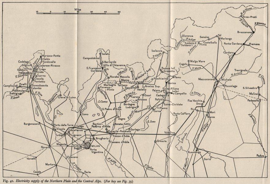 ITALY. Electricity supply. Po Basin & Alps. WW2 ROYAL NAVY INTELLIGENCE MAP 1945