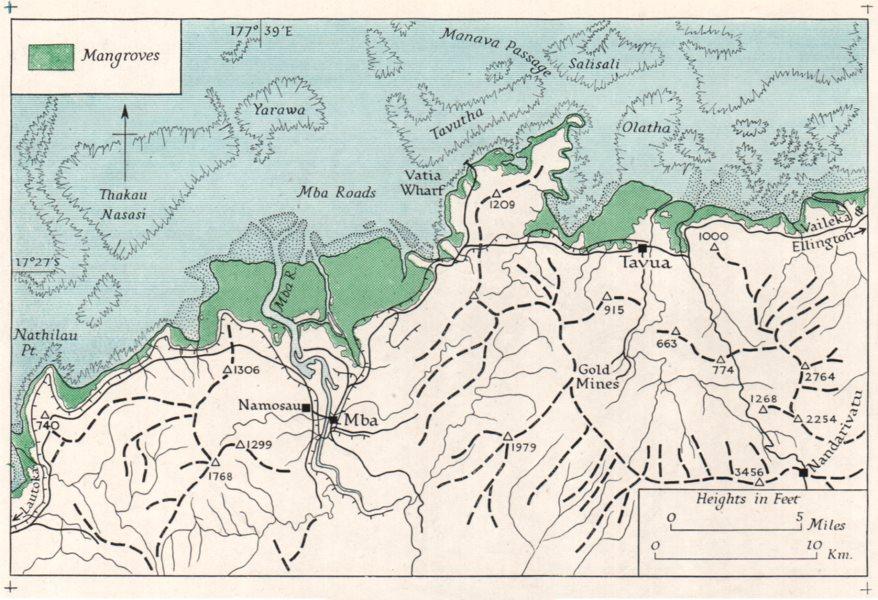 Associate Product FIJI. Viti Levu. Mba coast. WW2 ROYAL NAVY INTELLIGENCE MAP 1944 old