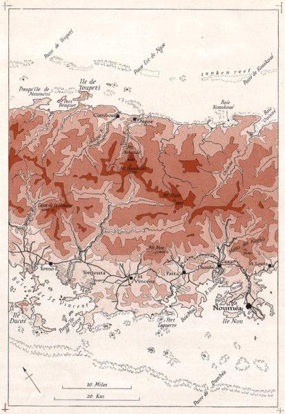 Associate Product MELANESIA. New Caledonia. Comboui-Noumea. WW2 ROYAL NAVY INTELLIGENCE MAP 1944
