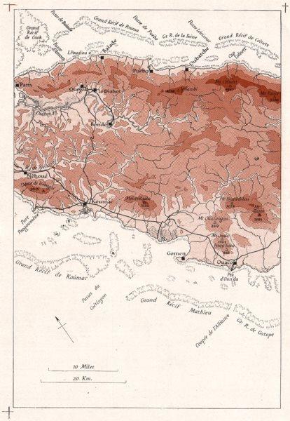 Associate Product MELANESIA. New Caledonia. Pam-Ouaco. WW2 ROYAL NAVY INTELLIGENCE MAP 1944