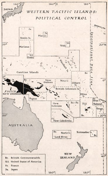 Associate Product WESTERN PACIFIC. Political control in 1939. WW2 ROYAL NAVY INTELLIGENCE MAP 1944