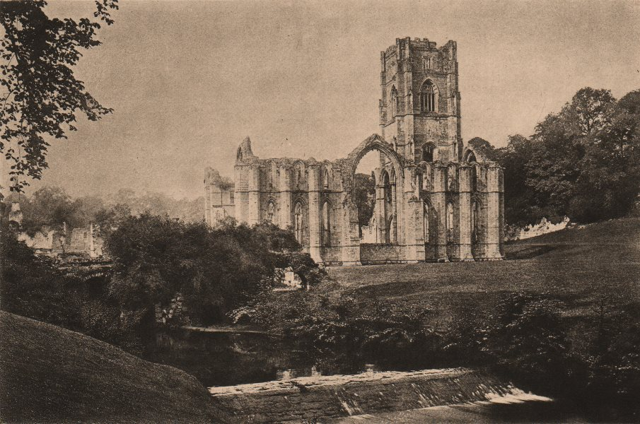 Associate Product YORKSHIRE. Fountains Abbey 1893 old antique vintage print picture