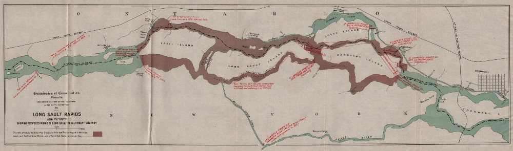 ONTARIO. Proposed works of Long Sault development company. Rapids 1913 old map
