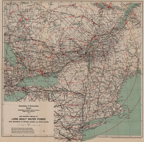 Associate Product CANADA. Long Sault Water Power. Reference to Ontario, Quebec & USA 1913 map