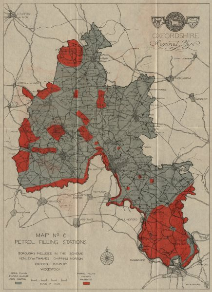 Associate Product OXFORDSHIRE PETROL FILLING STATIONS. Red=filling stations prohibited 1931 map