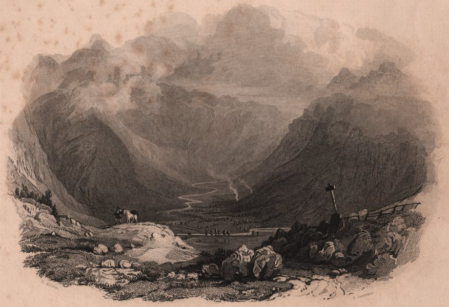 Associate Product LAKE DISTRICT. Langdale Pikes, Westmoreland. Cumbria. ALLOM 1839 old print