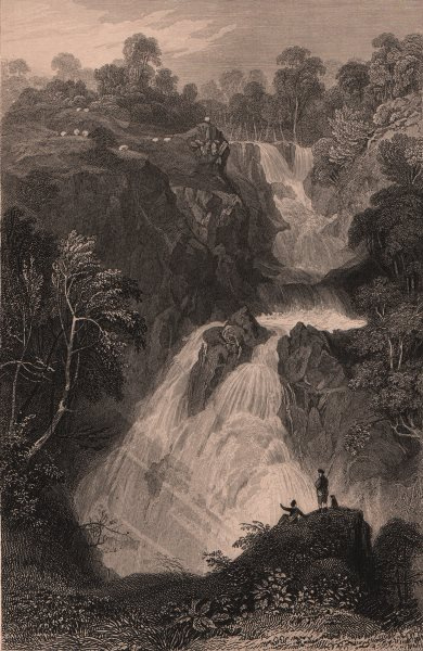 Associate Product LAKE DISTRICT. Colwith Force, Westmoreland. Cumbria. ALLOM 1839 old print