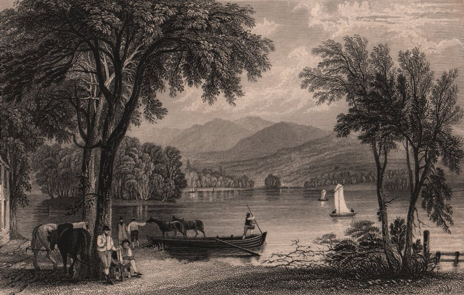 Associate Product LAKE DISTRICT. Lake Windermere, from the ferry house. Cumbria. ALLOM 1839