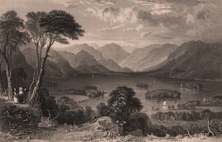 Associate Product LAKE DISTRICT. Derwent Water from Castle Head, Cumbria. ALLOM 1839 old print