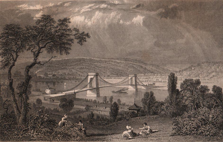 NORTHUMBERLAND. Scotswood Bridge, over the Tyne. ALLOM 1839 old antique print