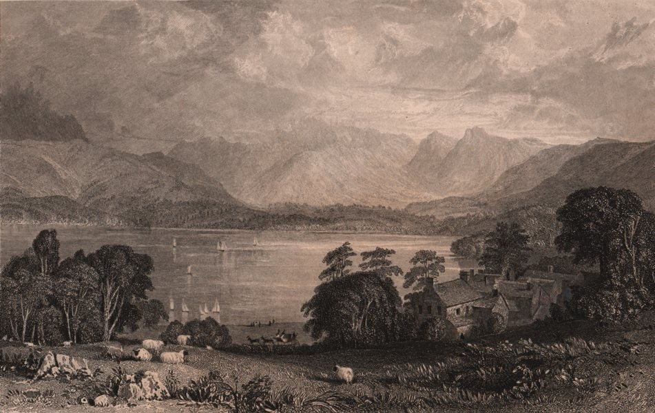 Associate Product LAKE DISTRICT. Windermere lake, from Low Wood Inn. Cumbria. ALLOM 1839 print