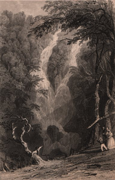 Associate Product LAKE DISTRICT. The lower fall at Rydal, Westmoreland. Cumbria. ALLOM 1839