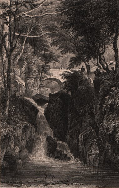 Associate Product LAKE DISTRICT. Stock Ghyll force, Westmoreland. Cumbria. ALLOM 1839 old print