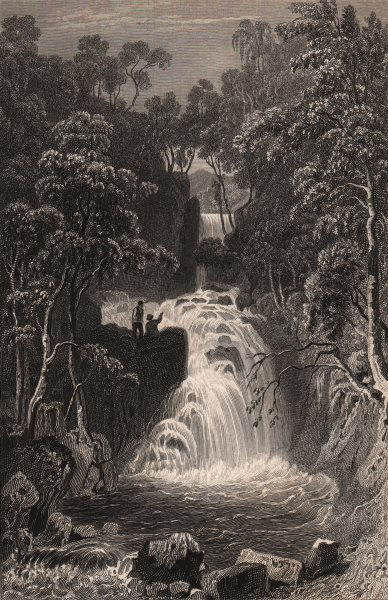 Associate Product LAKE DISTRICT. The upper fall at Rydal, Westmoreland. Cumbria 1839 old print