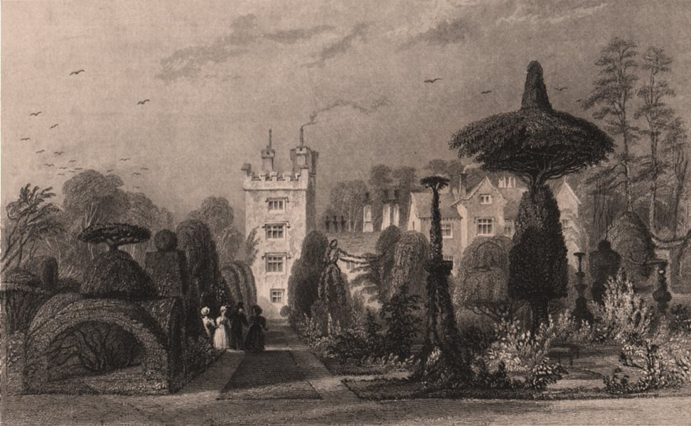 Associate Product LAKE DISTRICT. Levens Hall, Westmoreland. Cumbria. ALLOM 1839 old print