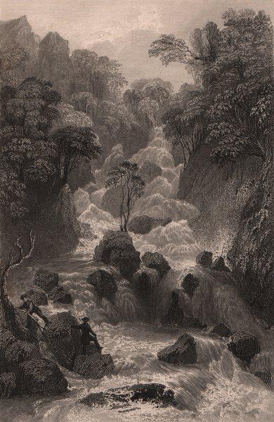 Associate Product LAKE DISTRICT. Lodore Cataract, Cumberland. Cumbria. ALLOM 1839 old print