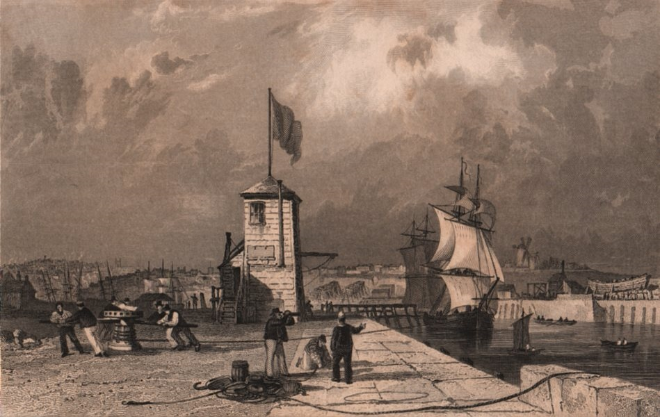 Associate Product COUNTY DURHAM. Sunderland Harbour, from the Pier. ALLOM 1839 old antique print