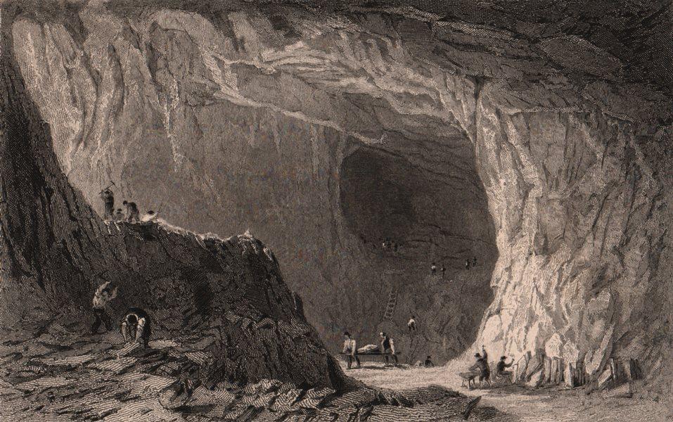 Associate Product LAKE DISTRICT. Thrang Crag slate quarry, Great Langdale. Cumbria. ALLOM 1839