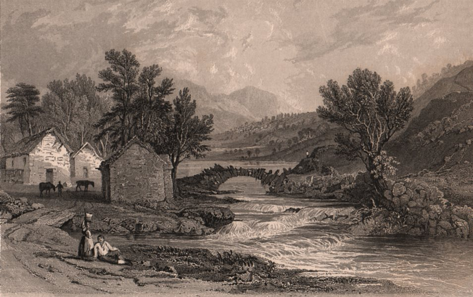 Associate Product LAKE DISTRICT. Watenlath & the stream of Lodore. Cumbria. ALLOM 1839 old print