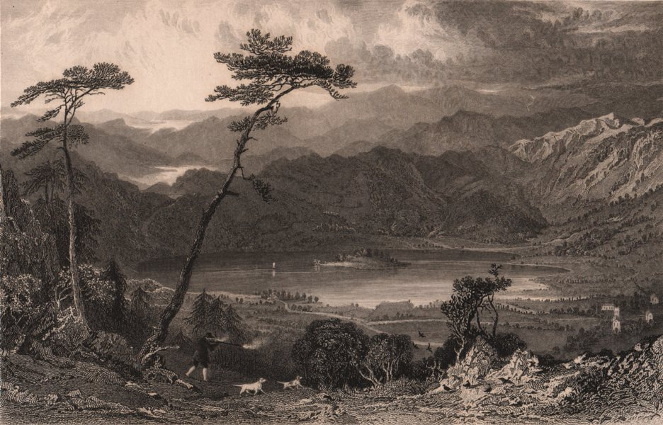 LAKE DISTRICT. Grasmere from Butter Crags, Westmoreland. Cumbria. ALLOM 1839