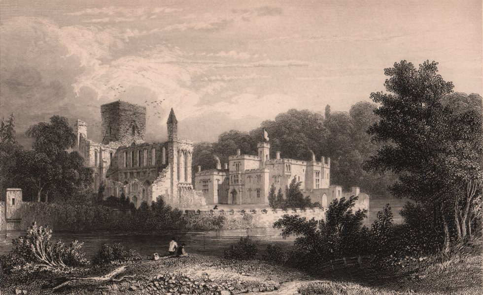 Associate Product NORTHUMBERLAND. North West view of Brenckburn Priory 1839 old antique print