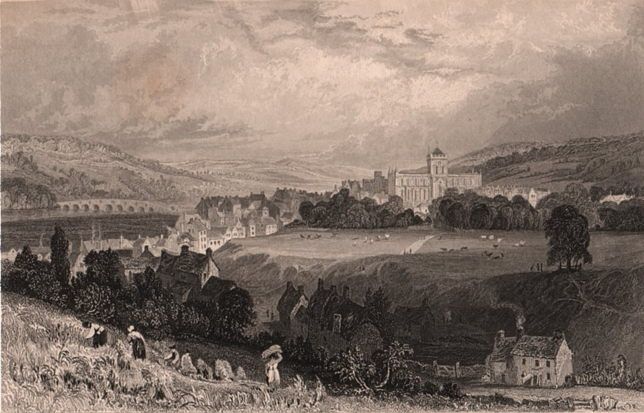 Associate Product NORTHUMBERLAND. Hexham, from the west. ALLOM 1839 old antique print picture