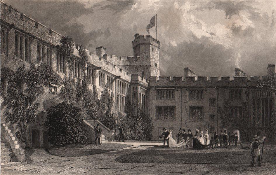 Associate Product CUMBRIA. The Court Yard, Naworth Castle, Cumberland. ALLOM 1839 old print