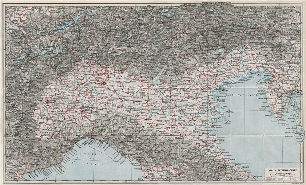 Associate Product ITALIA SETTENTRIONALE. Vintage map plan. Northern Italy. Railways 1924 old