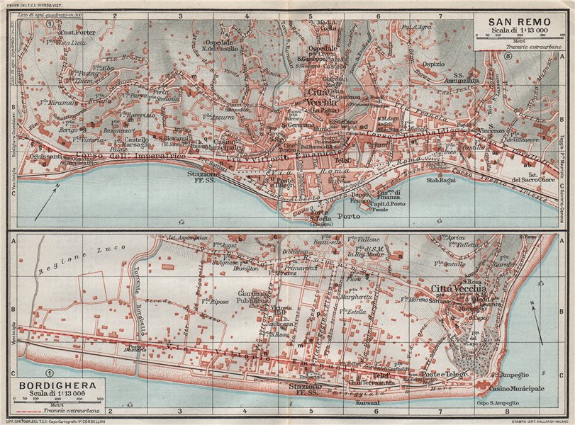Associate Product SAN REMO & BORDIGHERA. Vintage town city map plans. Italy 1924 old vintage