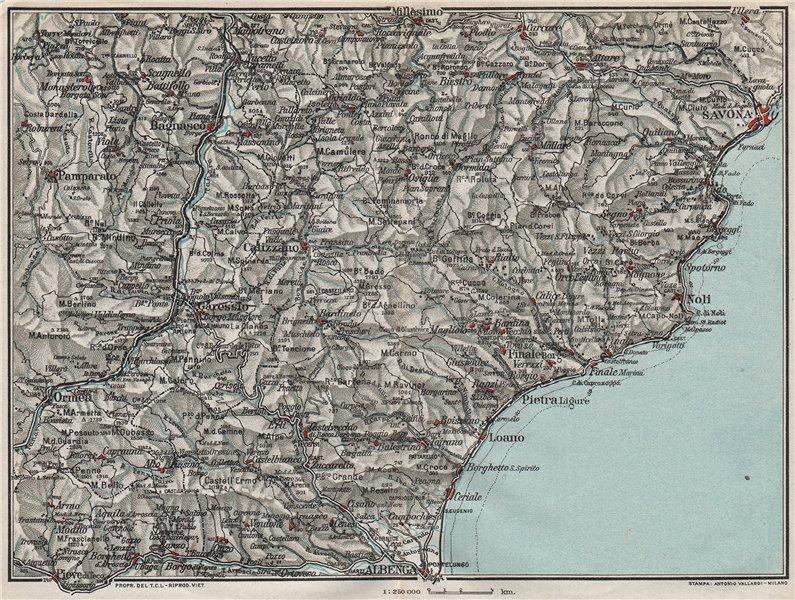 Associate Product ITALIAN RIVIERA LIGURE PONENTE. Albenga Savona Noli Pietra 1924 old map