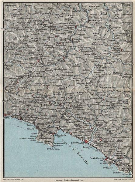 Associate Product ITALIAN RIVIERA LIGURE LEVANTE. Portofino S Margherita Chiavari Rapallo 1924 map