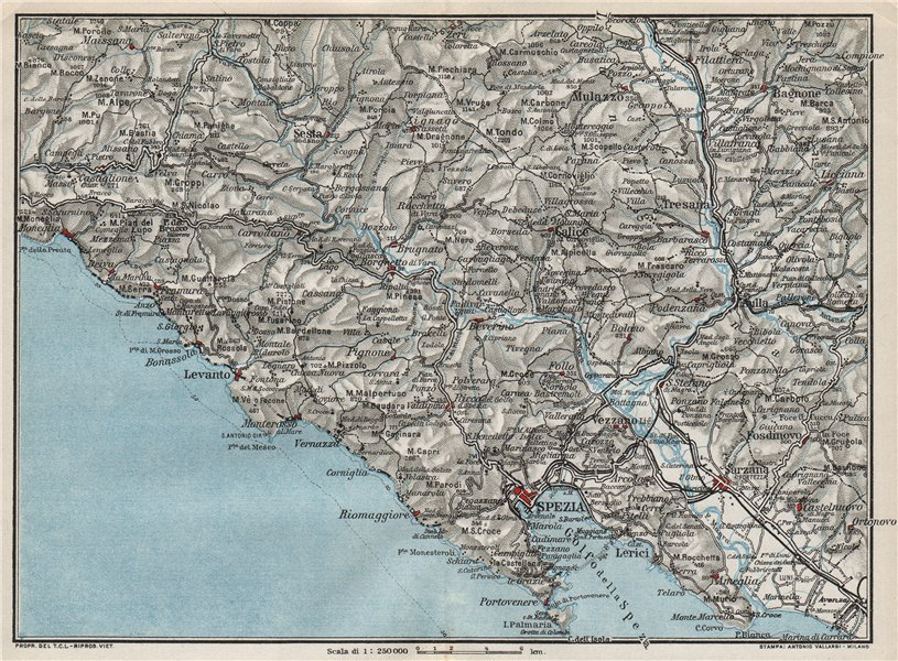 Associate Product ITALIAN RIVIERA LIGURE LEVANTE. La Spezia Levanto Sarzana 1924 old vintage map