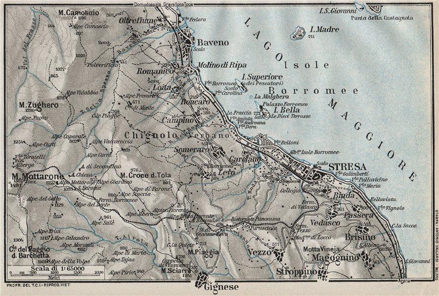 Associate Product LAKE LAGO MAGGIORE. Stresa Baveno Gignese. Vintage map plan. Italy 1924