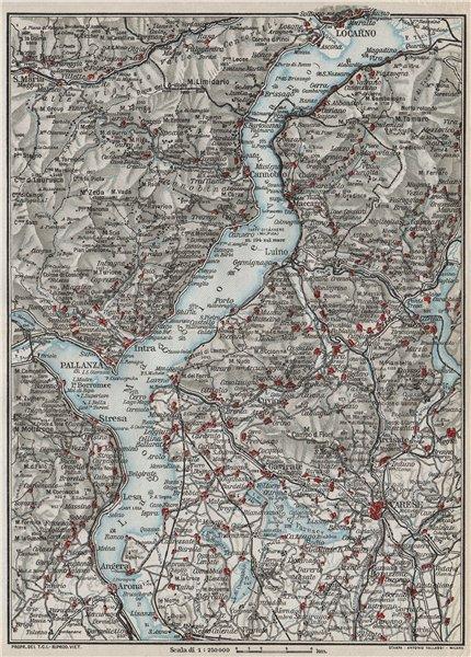 Associate Product LAKE LAGO MAGGIORE. Locarno Varese Pallanza. Vintage map plan. Italy 1924