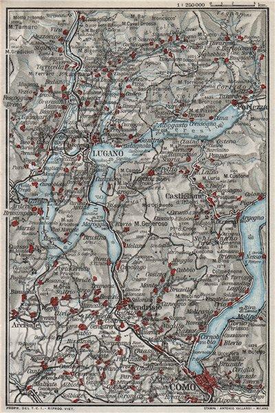 Associate Product LAKE LAGO DI LUGANO. Vintage map plan. Como. Switzerland 1924 old vintage