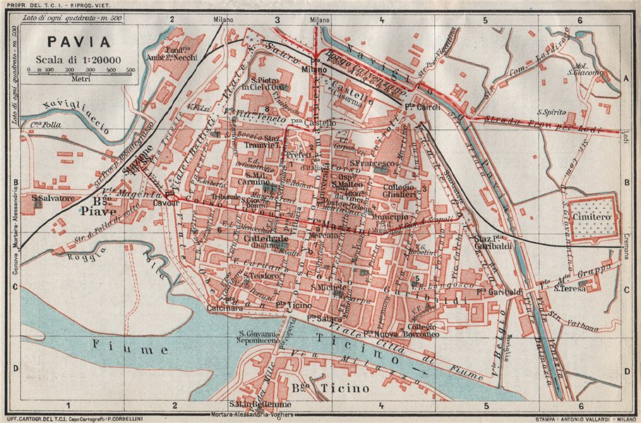 Associate Product PAVIA. Vintage town city map plan. Italy 1924 old vintage chart